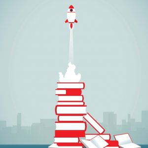 speedreading for meetings: rocket taking off from pile of books