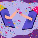 virtual team events: mobile phones with party hats toasting each other