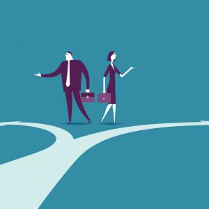 Job or Career - business man and woman at a fork in the road