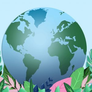 sustainable events: globe surrounded by plants