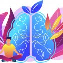 Daily practices - brain with man in yoga pose