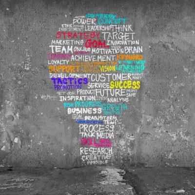 business acumen: lightbulb sahpe with businesss phrases