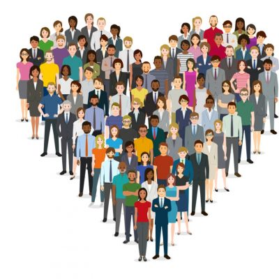 love: heart made up of many people