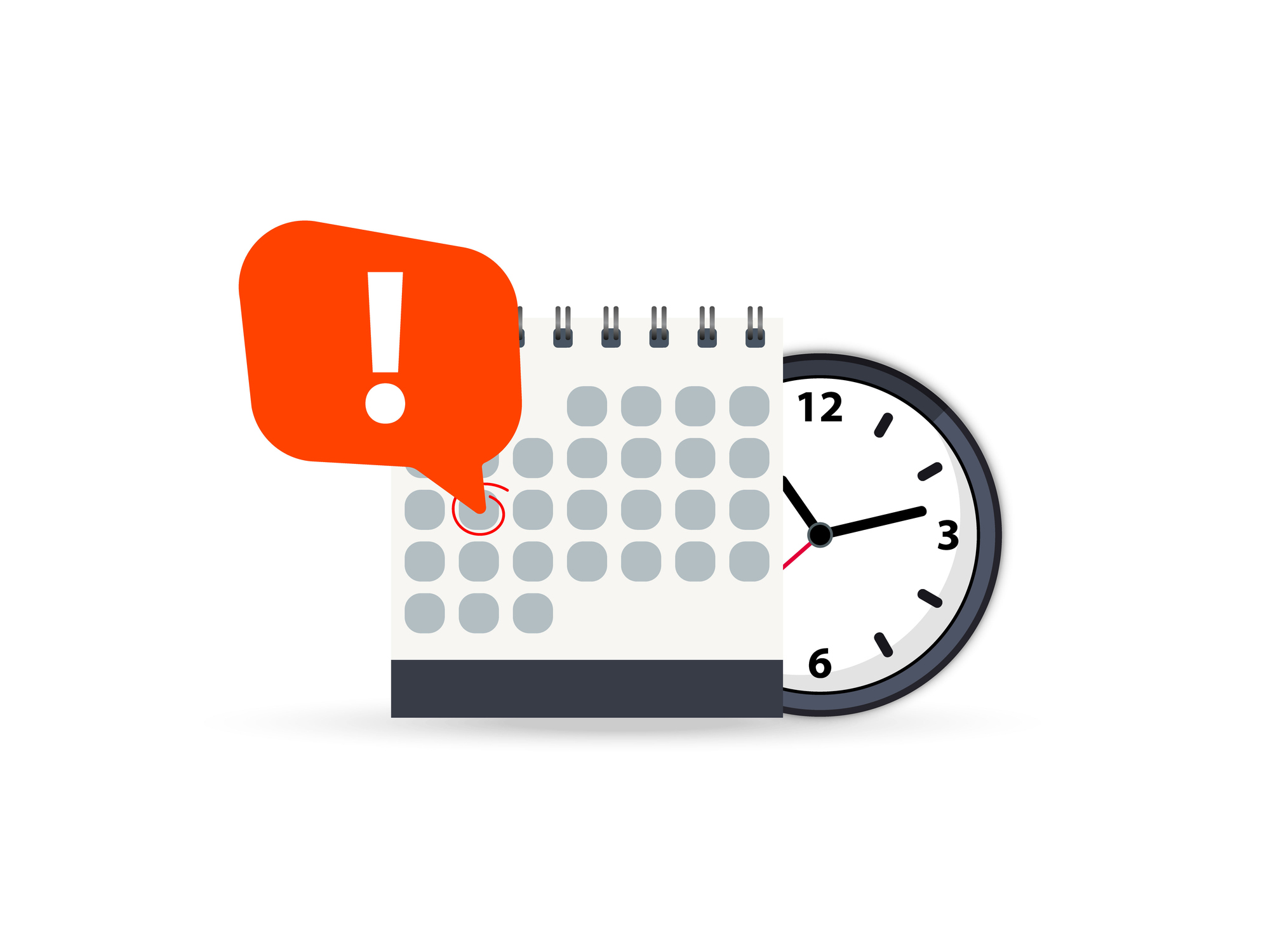 Meeting tools: calendar and clock with exclamation mark