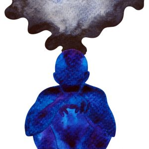 overthink: person with black cloud coming out of the top of their head