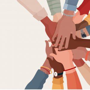 Belonging: circle of multi ethnic hands